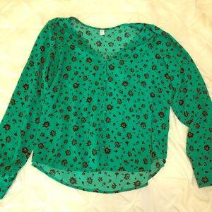 Green Long Sleeve Blouse from Nordstrom Rack